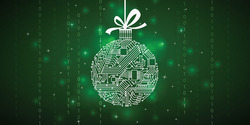 Image of a holiday ornament with computer code on it